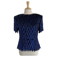 Black and Blue, Vintage 1980s Sequin and Bead Blouse