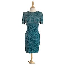 Papell Boutique, Vintage 1980s, Teal Beaded Cocktail Gown