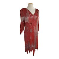 Fire and Ice, Vintage 1980s, Beaded Silk Gown