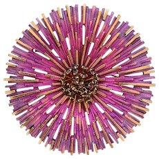 Starburst Atomic Purple Chrysanthemum, Vintage 1960s,  Metal Enamel Brooch with Rhinestone Cluster