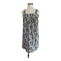Vintage 1970s, Blue and White Floral Daisy Print Sundress