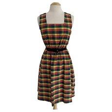 Vintage Handmade 1980s, Plaid A Line Jumper Dress