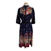 Vintage 1970s Floral Border Print Dress