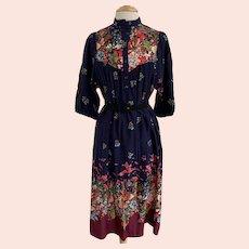 Vintage 1970s Floral Border Print Dress