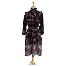 JCPenney, Vintage 1970s, High Collar Border Print Dress