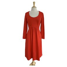Andrea Gayle, Vintage 1970s, Red Scoop Neck Dress