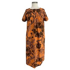Hawaiian Vintage 1970s Brown and Orange Maxi Length MuMu, Caftan