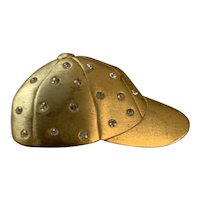 JJ, Vintage 1980s, Satin Finish Gold Tone Baseball Cap with Rhinestones Brooch
