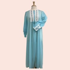 Vintage 1960s, Turquoise Blue with White Lace, Sheer Peignoir Robe