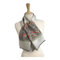 Vintage 1980s Fringed Neck Scarf, Silver with Paisley Print