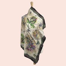 Abstract Dahlia Floral Print, Large Rayon Scarf