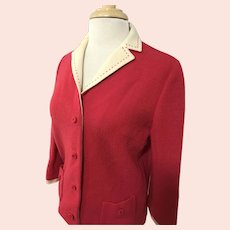 Butte Knit, Vintage 1960s, Strawberry Pink Wool Cardigan