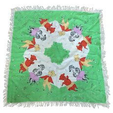 Ring Around the Rosy, Vintage 1950s, Oversized Child's Scarf Dancing Lambs