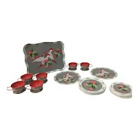 Ohio Art Company, Tin Litho, Vintage 1950s, Rosy Cockatoo 31 Piece Toy Tea Set