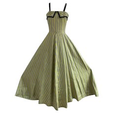 Vintage 1950s, Yellow and Gray Striped Gown with Black Sequin Trim