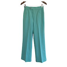 Wendy Winter, Vintage 1970s, Mint Green Wide Leg Trousers