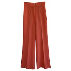 Vintage 1970s Orange Wide Leg Pull On Trousers