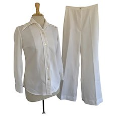 JCPenney, Vintage 1970s, 2 Piece White Leisure Suit Shirt and Pants
