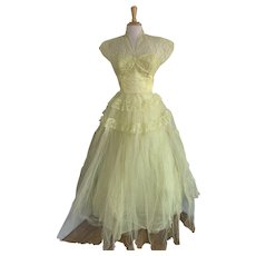 Yellow Tulle, Vintage 1950s, Strapless Cupcake Dress