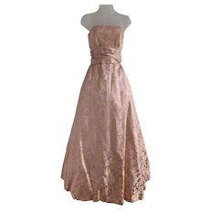 Pink and Gold Brocade, Vintage 1950s, Strapless Evening Gown