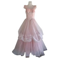 Pink Organza, Vintage 1950s, Cupcake Dress with Crumb Catcher Bodice