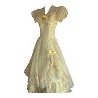 Daffodil Yellow, Vintage 1950s Tiered Ball Gown
