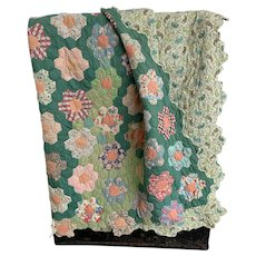 Grandmother's Flower Garden, Vintage 1930s Scalloped Edge Hand Stitched Flour Sack Quilt