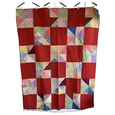 Red Patchwork Quilt with Flour Sack Squares