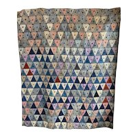 Vintage 1940s Triangle Patchwork, Wool Yarn Tied Quilt with Flannel Backing
