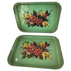 Pair of Rose Print Vintage 1970s, Metal Serving Trays, TV Trays