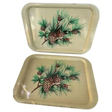 Pair of Pinecone Trays, Vintage 1970s Metal Serving Tray, TV Tray