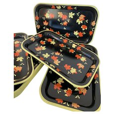 Black with Fall Leaves, Small Metal Serving Tray, Luncheon Tray