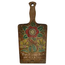 Rustic 1960s Swedish Bread Board, Cutting Board with Traditional Rosemal