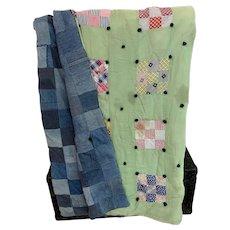 Denim Patchwork Quilt, Primitive Handmade