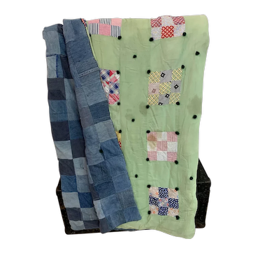 Denim Patchwork Quilt, Primitive Handmade
