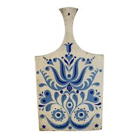 Blue and White Scandinavian Rosemal Cutting Board with Handle