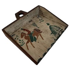 Primitive Folk Art, Wooden Dustpan with Painted Horse, Rider, and Lady