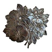 Magnolia Flower Bouquet Silvertone Trivet