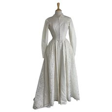 1950s Taffeta and Lace High Collar Wedding Gown