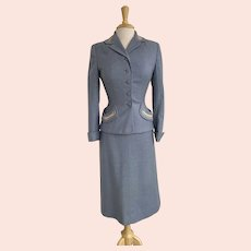 1950s Women's Soft Blue Wool Suit, Jacket and Skirt