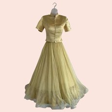 Emma Domb, Late 1940s Gold Satin and Tulle Gown with Jacket