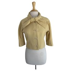 Cropped Wool Jacket, 1960s Soft Yellow with Tie Neck Collar