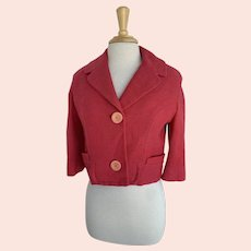 Stefan for Briarbrook, Cropped Strawberry Pink Wool Jacket