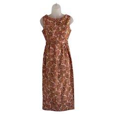 Apricot Paisley Print Maxi Dress 1970s
