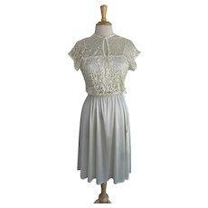1970s Cream Lace Slip Dress