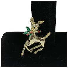 Gerry's 1960s Rudolph the Red Nosed Reindeer with Holly Brooch