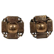 Renoir Copper Square to Circle Clip On Earrings