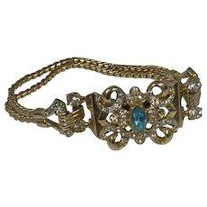 Coro 1950s Gold Tone Bracelet with Rhinestones
