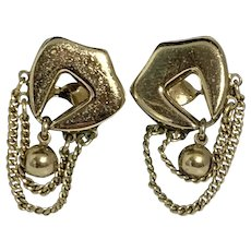 Monet 1980s Chunky Gold Tone Clip Earrings with Dangling Chains