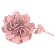 Giant Pink Carnation Enamel Brooch